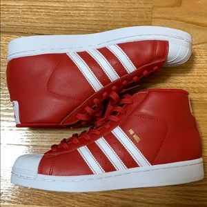 adidas Pro Model Mid Top Shoes in Scarlet Red
